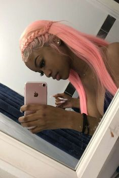 Lace Frontal Wigs Pink Hair A Pink Wig For Women – wigbaba Short Weave Hairstyles, Short Hair Wigs, Pretty Hairstyles, Straight Hairstyles, Curly Hair Styles, Natural Hair Styles, Pink Wig, Baddie Hairstyles, Hair Game