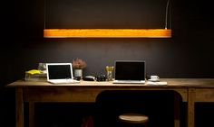 LZF Lamps  I-Club, Slim Suspension Lamp. Linear Dark Office   Wood touched by Light   Handmade Wood Lighting since 1994