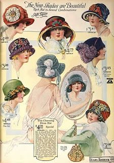 It'll Take The Snap Out Of Your Garters!: 1923 Fashions IN COLOUR! Vintage Dresses, Vintage Outfits, Vintage Fashion, 1920s Hats, Flappers 1920s, Fabric Crown, Victorian Hats, Moda Vintage, Textiles