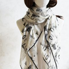 chiffon square scarf Monroe pattern fashion by blackbeanblackbean, $18.00