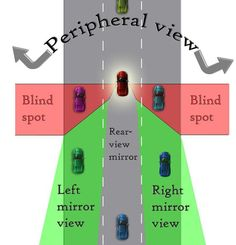 Blind Spots Due to blind spots, drivers should shoulder check anytime before they are about to move the vehicle over more than about 1 meter. This is to check for other vehicles, pedestrians, cycli… Dmv Driving Test, Driving Basics, Safe Driving Tips, Driving Teen, Driving Safety, Driving School, Drivers Permit, Drivers Ed, Learning To Drive Tips