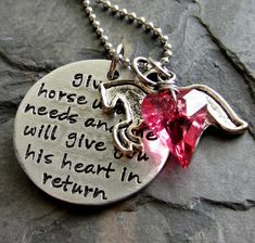 Hand stamped Horse Quote Necklace for by EquineExpressionsbyD, $32.00