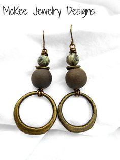 Green Stone, ceramic and bronze wire wrapped earrings. -  - McKee Jewelry Designs - 1