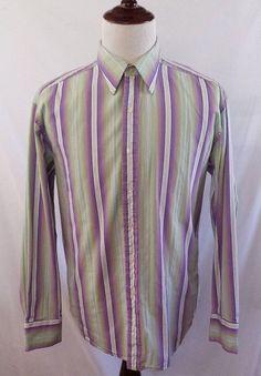R&G Button Front Shirt Mens XL Purple and Green Stripes Cotton ROBERT GRAHAM #RG #ButtonFront