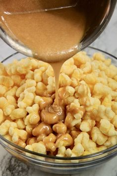 This Caramel Puff Corn is the perfect treat for when you are craving something a little salty and a little sweet. And all you need are four simple ingredients and less than twenty minutes to make this deliciously sweet treat for your next gathering. Caramel Puffed Corn Recipe, Puffed Corn Recipes, Caramel Puff Corn, Popcorn Recipes, Easy Cookie Recipes, Candy Recipes, Snack Recipes, Snacks, Baking Recipes