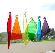 Móvil de viento  Vidrio  Arcoíris  Rojo por TuulaGiraldoArtGlass