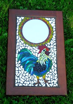 Crack of Dawn Rooster Mosaic Mirror  Made from recycled mirror, glass, cupboard door.
