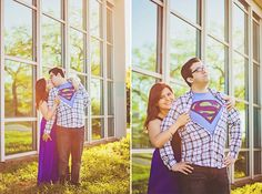 Colorful and geeky Superman engagement photos from Iliasis Muniz Photography
