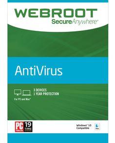Webroot SecureAnywhere AntiVirus (3-Device) (1-Year Subscription) - Mac|Windows, Multi, WEB803800F114