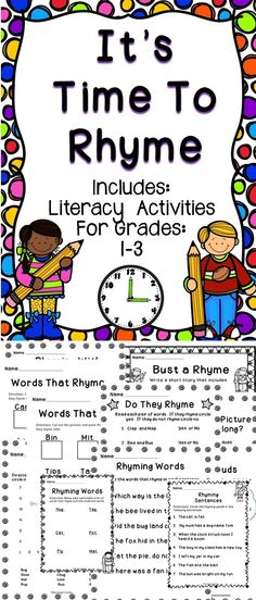 Rhyming Words - A fun supplemental activity book to help teach students about rhyming words. This no-prep activity book will be a great resource for the primary classroom! #literacy