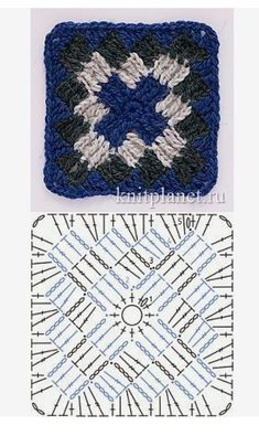 Crochet Granny Square Ideas Entrelac-like crochet granny square Granny Square Crochet Pattern, Crochet Stitches Patterns, Crochet Squares, Crochet Granny, Crochet Mat, Crochet Blocks, Crochet Doilies, Granny Pattern, Crochet Projects