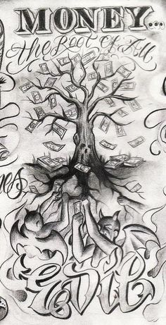 Tattoo Designs Drawings Money New Ideas – Tattoo Sketches & Tattoo Drawings Gangster Tattoos, Chicano Tattoos, Evil Tattoos, Body Art Tattoos, Gangster Drawings, New Tattoos, New Tattoo Designs, Tattoo Design Drawings, Tattoo Sleeve Designs