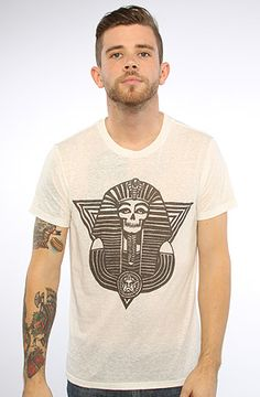d6dfedcd Obey The New Kingdom Nubby Thrift Tee in White Model is wearing a size  Medium Burnout crewneck tee with front contrast graphic; By Obey