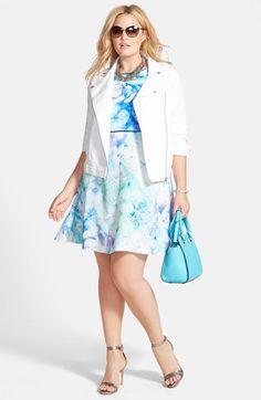 Julia Jordan Watercolor Fit & Flare Dress (Plus Size)   Nordstrom