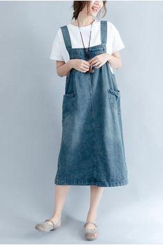 2017 Summer Blue Denim  Suspender Skirt Women Clothes