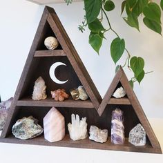 The home of Crystal Shelves, Moon Shelves and home decor for dreamers and spirited souls ☾ We hand make each of our designs in our rural studio and are here to help you create a sacred space in your home as you begin or to enhance your spiritual journey! Mountain Shelf, Rural Studio, Crystal Shelves, Crystal Altar, Triangle Shelf, Wood Shelves, Different Shapes, Crystals, Create