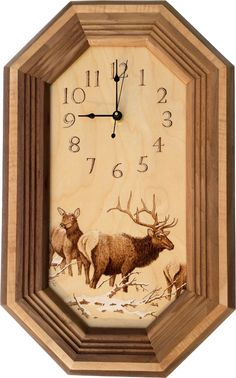 Handmade clock with original pyrography wood burning of the Elk Herd