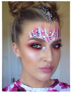 Pink and white festival face paint