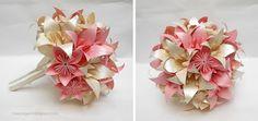 origami - ramo de novias con flores plegadas en papel