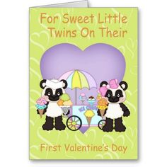 Twins First Valentine's Day With Little Panda Bear Greeting Cards