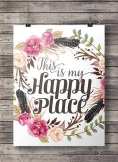 Aquarell das ist mein happy Place Blumen-Kranz von SouthPacific