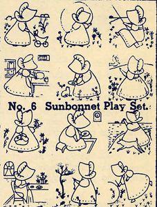 Embroidery Transfers Sunbonnet Sue Quilt DEPRESSION1930 | eBay