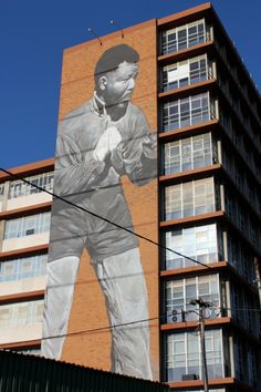 #meetsouthafrica. - Seen in downtown area just off the Maboneng Precinct, amural of magnitude to the man who picked a fight for our freedom...