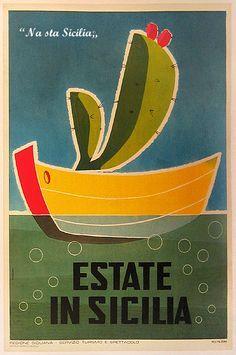 Sicily, Vintage Travel Poster