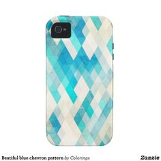 Beatiful blue chevron pattern Case-Mate iPhone 4 cases