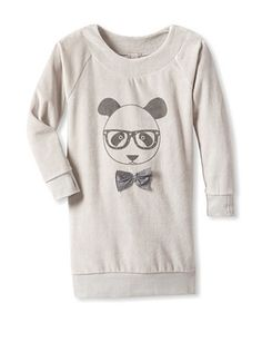 Le Marchand D'etoiles Girl's Dress with Panda (Grey)