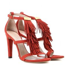 Chloé Suede Sandals ($755) ❤ liked on Polyvore featuring shoes, sandals, heels, red, red sandals, chloe sandals, suede fringe sandals, suede leather shoes and red suede sandals
