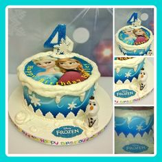 AIRBRUSHED FROZEN CAKE with snow and an edible topper