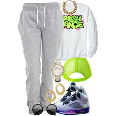 A fashion look from August 2013 featuring CÉLINE sweatshirts, White Label activewear pants and MICHAEL Michael Kors watches. Browse and shop related looks.