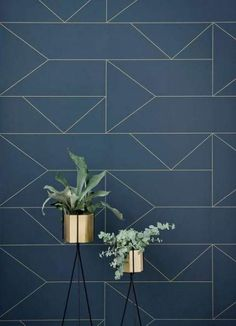 The Ferm Living Plant Stand is beautiful way to display your flowers. Buy Ferm Living designs today from Utility. Living Room Paint, Living Room Grey, Living Room Decor, Living Rooms, Wallpaper Accent Wall Bathroom, Wall Wallpaper, Lines Wallpaper, Wallpaper Ideas, Blue And Gold Wallpaper