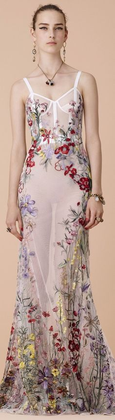 Alexander McQueen resort 2016. I am usually not a fan of floral prints, but this is beautiful in its arrangement and pattern.