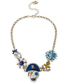 Betsey Johnson Gold-Tone Crystal Skull and Anchor Linked Frontal Necklace - Jewelry & Watches - Macy's