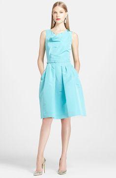 Oscar de la Renta Silk Fit & Flare Dress