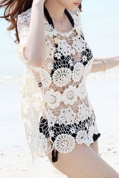 Beige Round Neck Half Sleevs Hollow-out Lace T-shirt