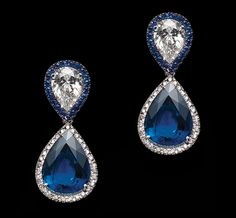 KESSARIS  Earrings in white gold with diamonds and sapphires