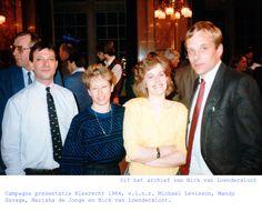 Campagne presentatie Kiesrecht 1984, v.l.n.r. Michael Levisson, Mandy Savage, Mariska de Jonge en Nick van Loendersloot. Uit het archief van Nick van Loendersloot.