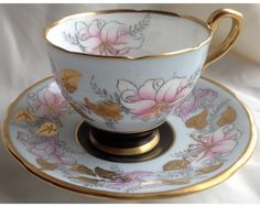 Fancy Royal Stafford Morning Glory Heavy Raised Gold Hand Painted Cup and Saucer picclick.com
