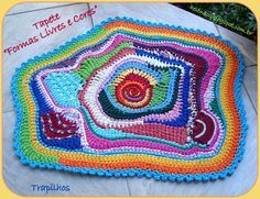 Freeform crochet rug. Love the colors, the shape, the stitching, the everything.