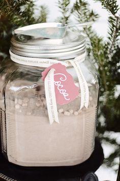 Jar of Cocoa for Front Porch Hot Cocoa Bar, Hot Chocolate Bar, Winter Party Idea, Christmas Party Idea