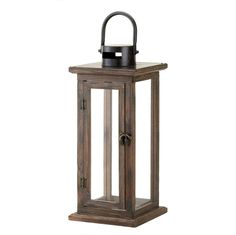 Lodge Wooden Lantern Rustic Candleholder Wood Frame Clear Glass Panes IN STOCK #Unbranded #Lodge