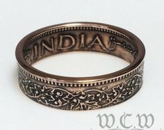 Japanese Coin Ring Bronze 1 Sen Coin by WorldCoinWorks on Etsy