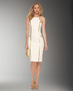 Boucle Crepe Racerback Sheath Dress, White by Michael Kors at Neiman Marcus.