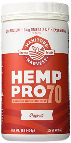 #Manitoba Harvest HempPro 70 is the world's first water soluble (mixes easily and completely into any drink) hemp protein powder. Simply add HempPro 70 to a shak...