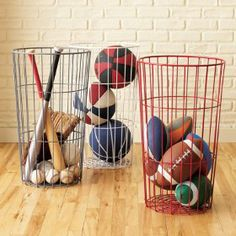 A fun and decorative way to store and display kids sports equipment in kids bedrooms and playrooms. A great kids organizer from The Land of Nod.