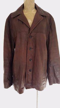 M. Julian Jacket Size XLarge Leather Brown Wilsons Mens Distressed Coat #MJulianWilsonsLeather #BasicJacket