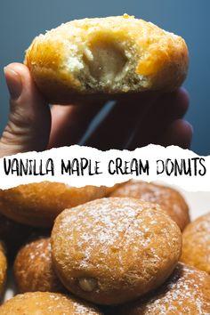 Jelly Filled Donut Recipe, Jelly Donuts Recipe, Cream Donut Recipe, Cream Filling Recipe, Vegan Donut Recipe, Cream Filled Donuts, Donut Filling, Donut Recipes, Vegan Treats